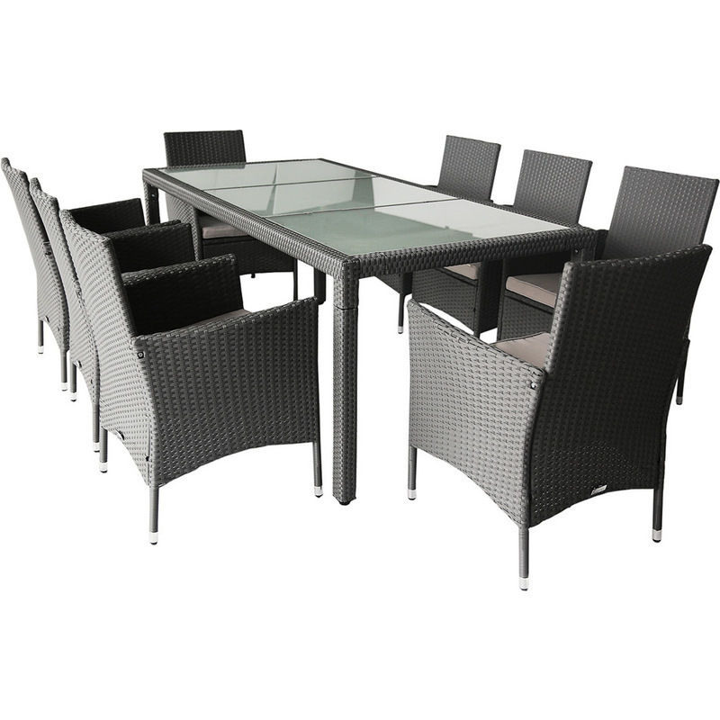 simon 8 seat outdoor pe wicker dining set in grey buy 8 seat dining sets. Black Bedroom Furniture Sets. Home Design Ideas
