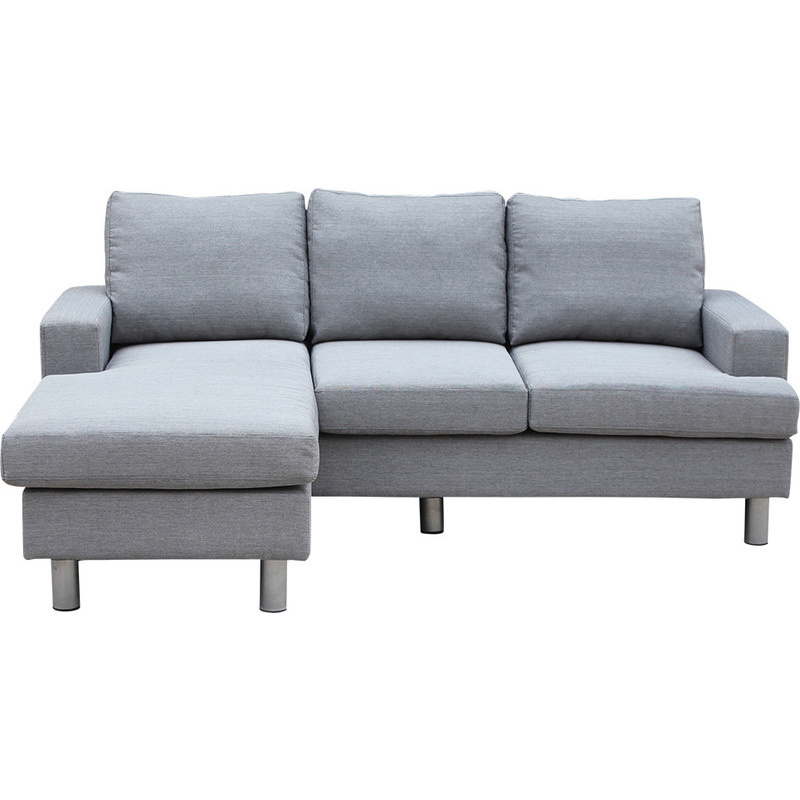 Lambeth reversible 3 seat chaise lounge sofa grey buy sofas for 3 seater chaise lounge