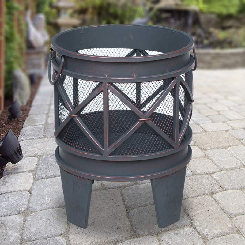 Turin round metal outdoor fire pit antique copper buy for Buy outdoor fire pit