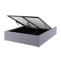 5aa6e707776 Luxo Fabia Double Upholstered Gas Lift Storage Bed Base - Grey