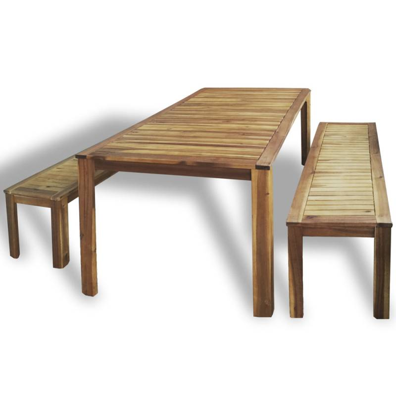 Outdoor Wooden Patio Dining Bench Chair Table Set