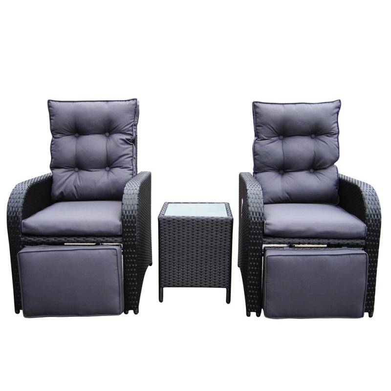 Mykonos Outdoor Wicker Recliner Chair Set In Black Buy