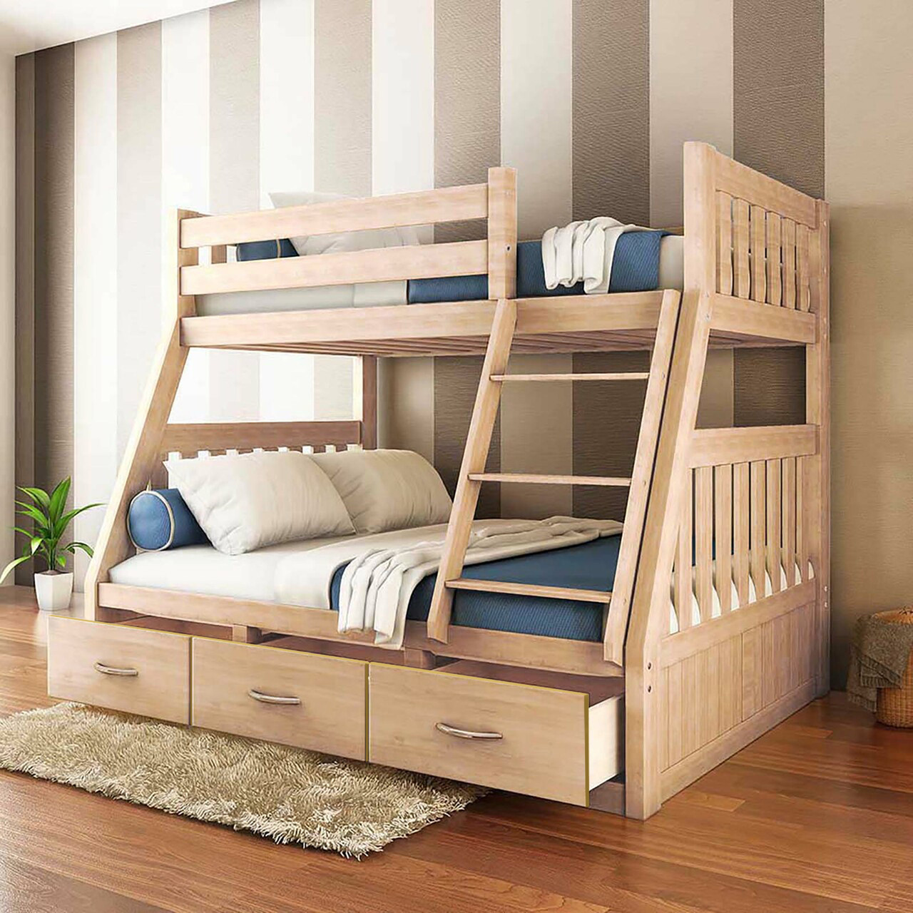 Cornelia Solid Pine Triple Bunk Bed With Storage Natural Buy