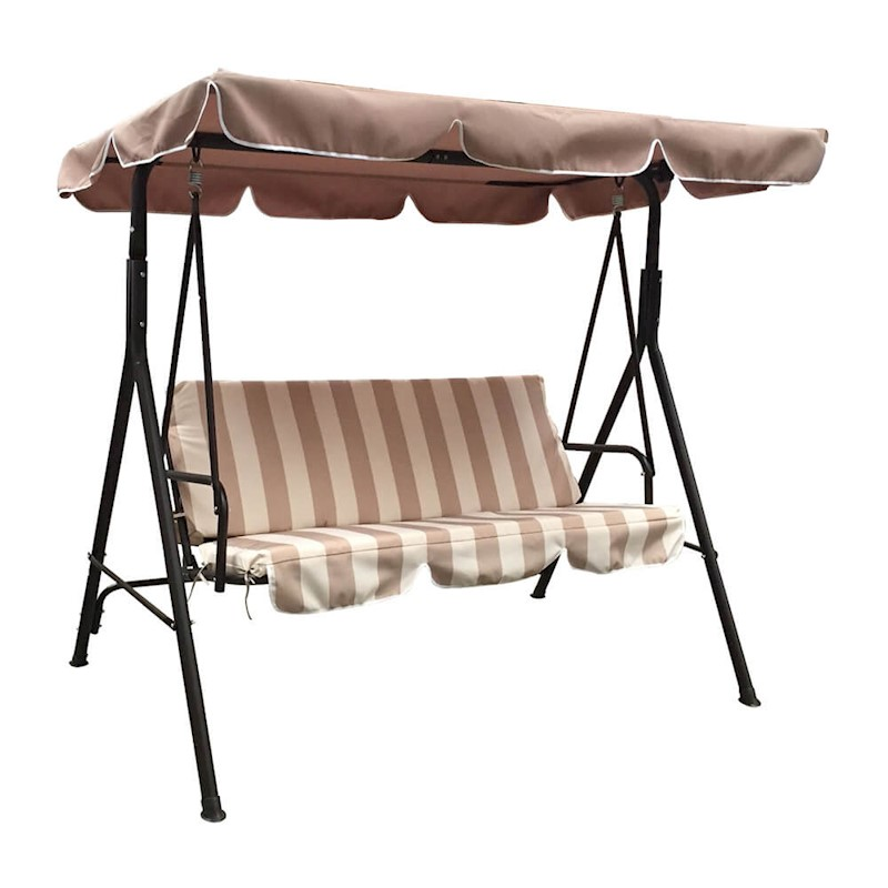 Luxo Jhoola 3 Seater Outdoor Swing Chair With Canopy Coffee Brown