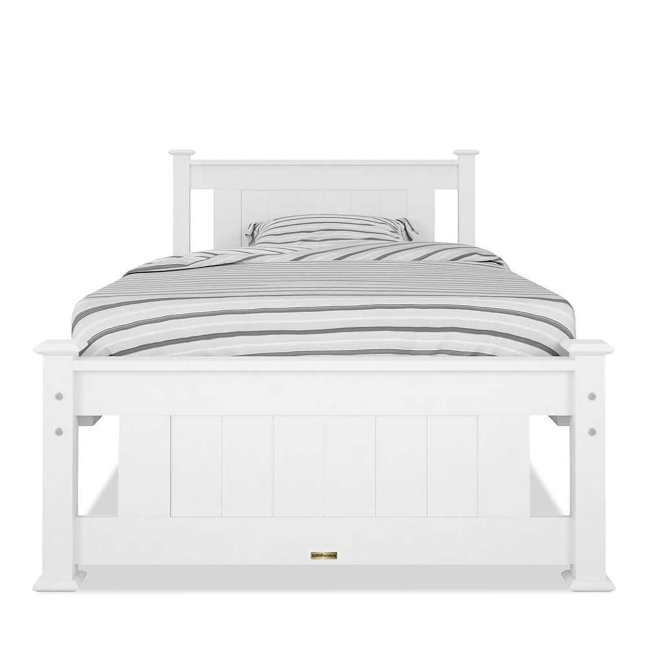 Beds & Mattresses Single Bed Frame Solid Pine Wood White