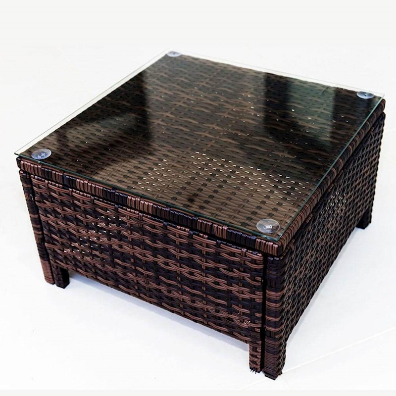 Brown Rattan Coffee Table Outdoor: PE Wicker Outdoor Sun Bed Side Table