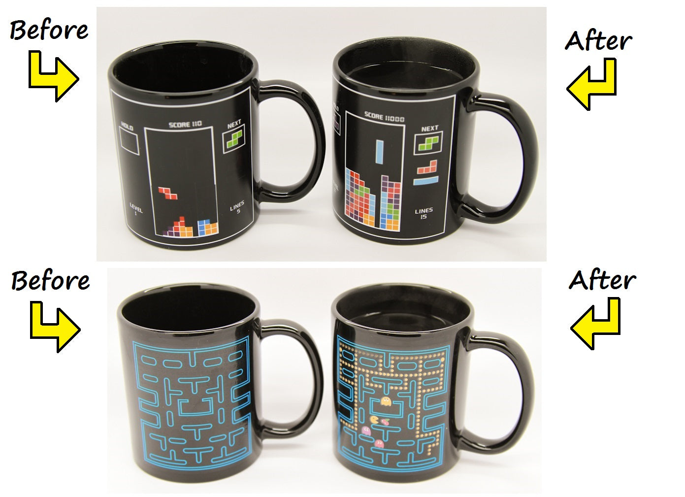 Tetris Coffee Temperature Heat Cup Pacman Cold Superman Hot Tea Changing Mug DYeE29WHI