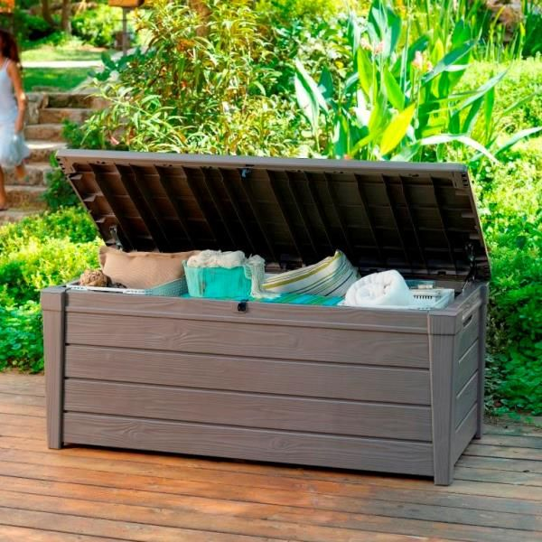 Keter brightwood outdoor garden storage bench box buy outdoor storage boxes Storage bench outdoor