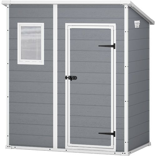 keter manor outdoor storage shed grey white 6x4ft buy. Black Bedroom Furniture Sets. Home Design Ideas