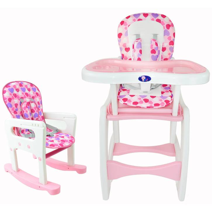 Dining Room High Chairs: 4-in-1 Adjustable Baby Dining High Chair Set Pink