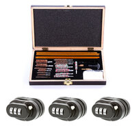 Gun Cleaning Kit & 3x Trigger Lock Combo Set