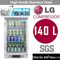 Lockable Door Display Stainless Steel Bar Fridge