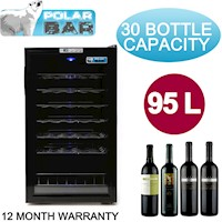 30 Bottle Wine Fridge with Glass Door and Tray 95L
