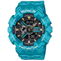 Casio Baby-G Women's Watch in Blue Tribal Pattern