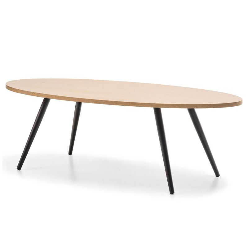 Dizzy Oval Ash Veneer Coffee Table In Oak Black Buy Coffee Tables