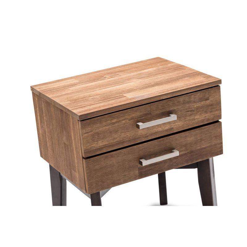 Selena acacia 2 drawer bedside table caramel choc buy for Table queens acacia