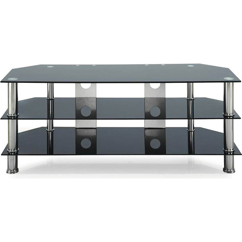 Tier Glass Entertainment Unit Tv Stand In Black