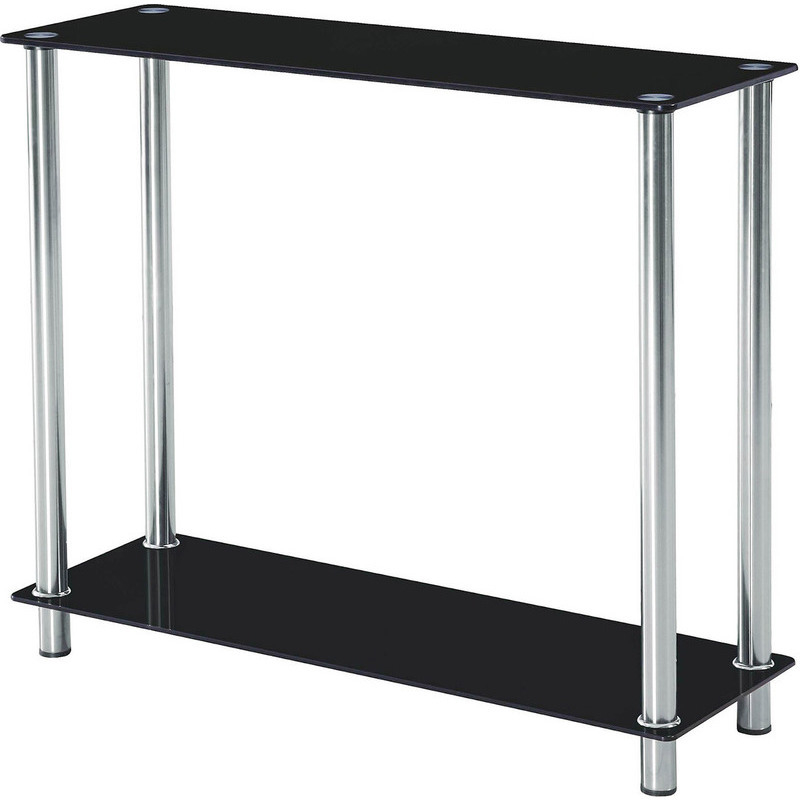Open Tempered Glass Console Hallway Table In Black