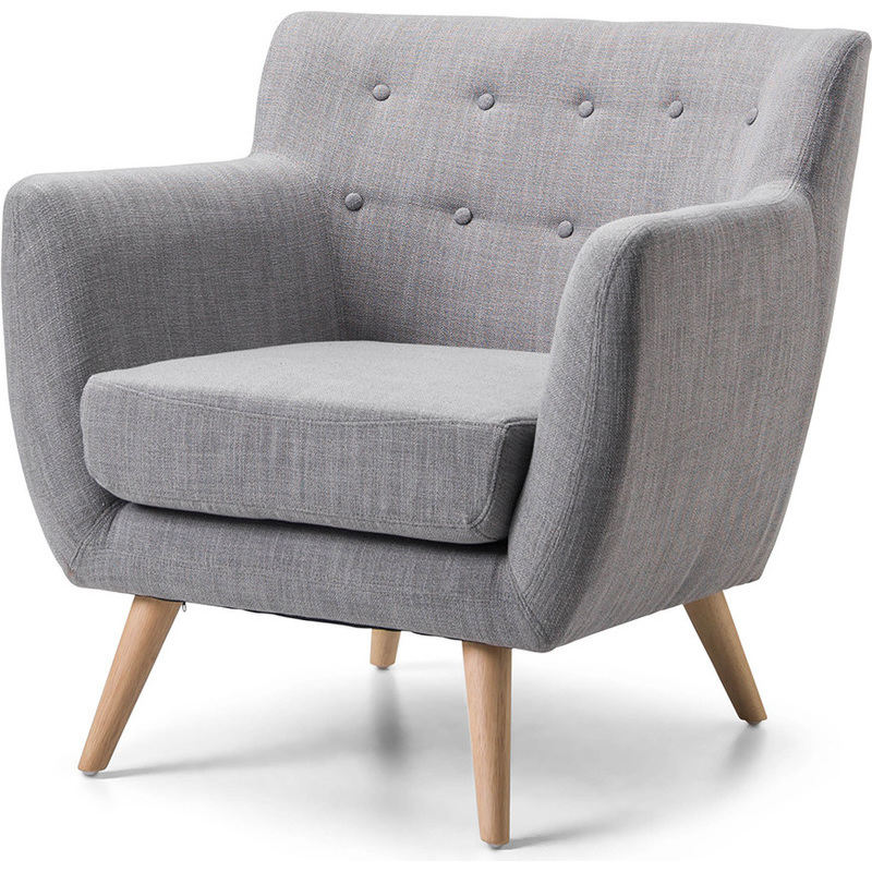 H M S Remaining. Scandinavian Retro Fabric Lounge Armchair In Grey