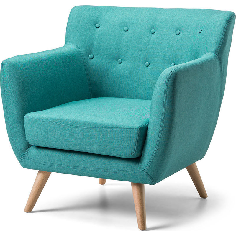 Scandinavian Retro Fabric Lounge Armchair in Teal | Buy ...