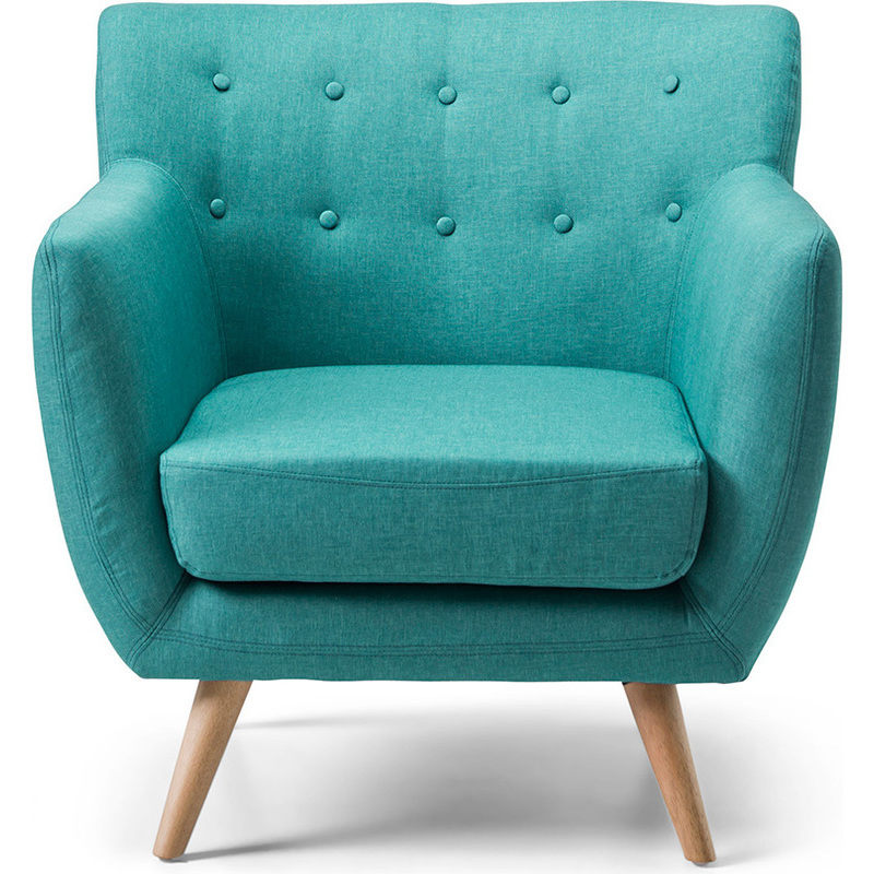 Scandinavian Retro Fabric Lounge Armchair In Teal Buy Armchairs Amp Accent Chairs 186701