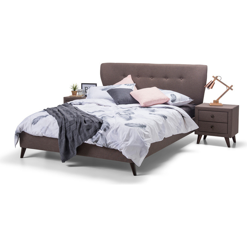 victoria queen scandinavian fabric bed frame brown | buy queen bed