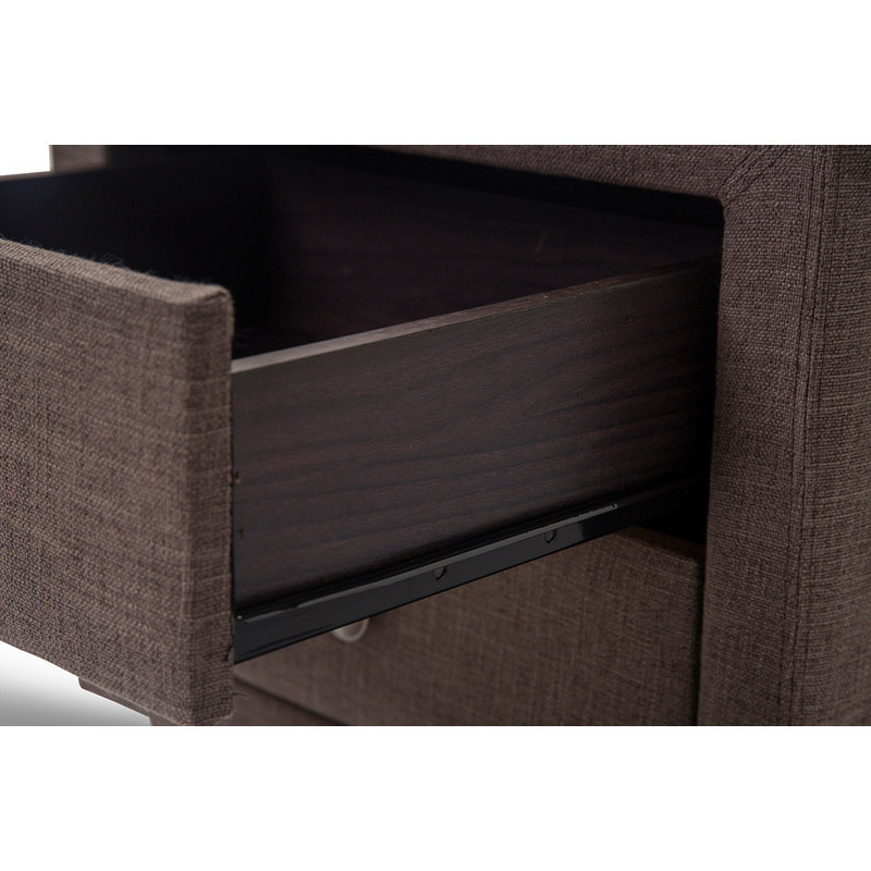 Victoria Fabric Bedside Table W 2 Drawers In Brown Buy