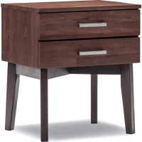 Selena Acacia 2 Drawer Bedside Table Caramel & Choc