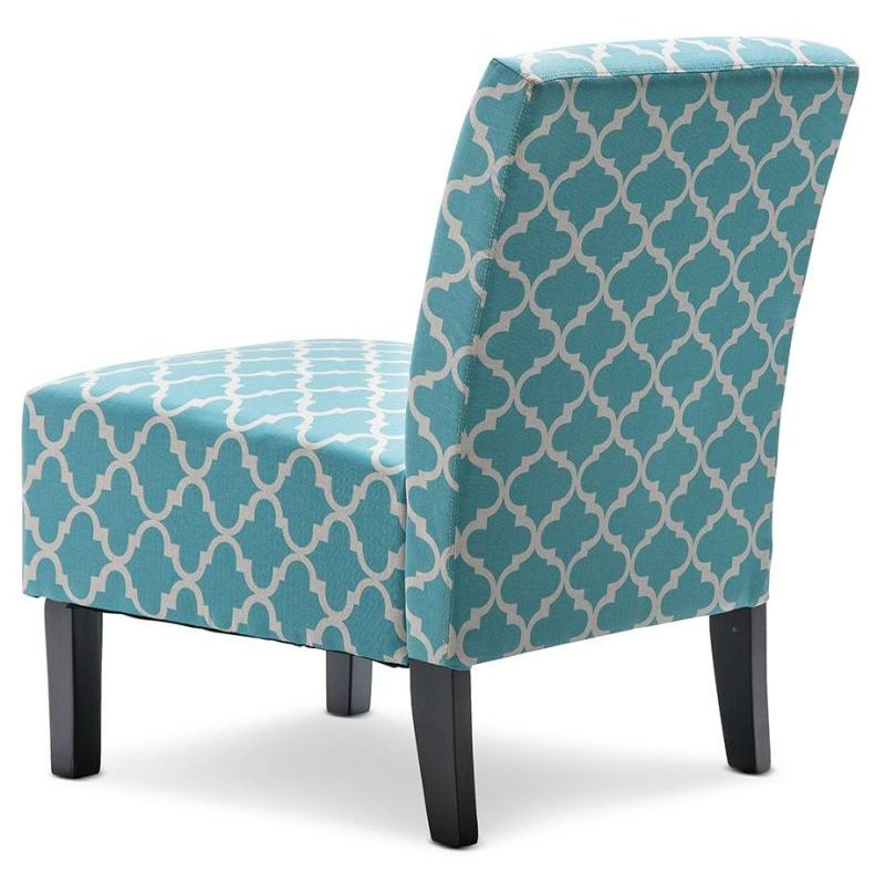 Fabric Armchair In Teal And White Patterned Print Buy