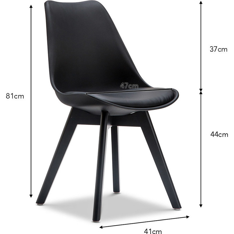 2x eames dsw inspired pu leather chair solid black buy for Leather eames dining chair