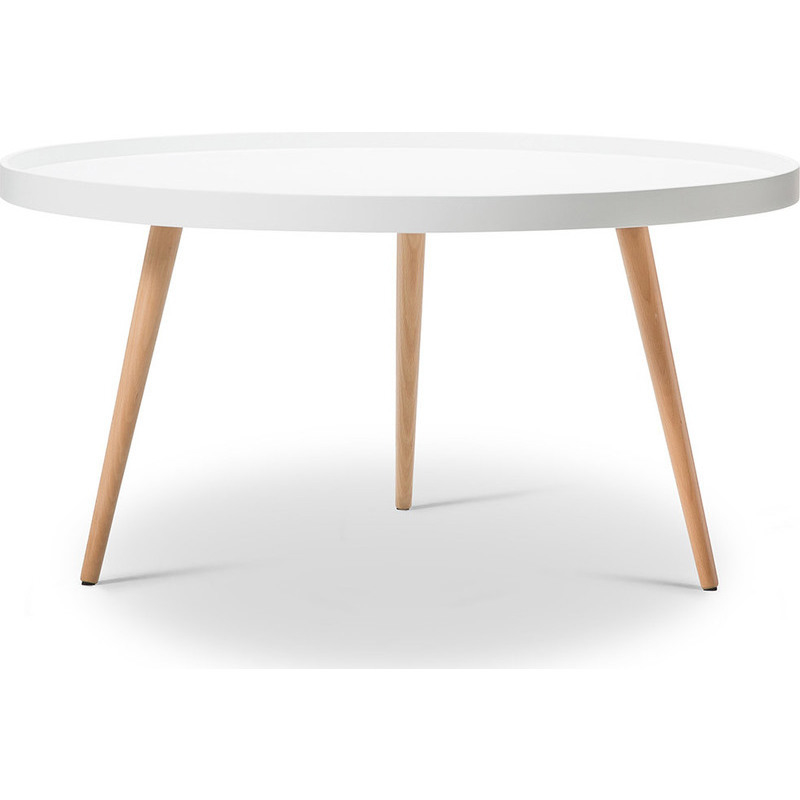 Scandinavian Round Coffee Table W/ Tray Top - White