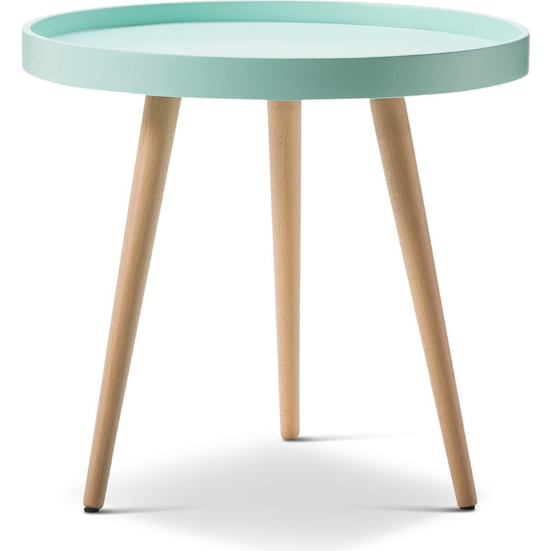 Scandinavian Design Side Tables: Scandinavian Round Side Table With Tray Top In Mint