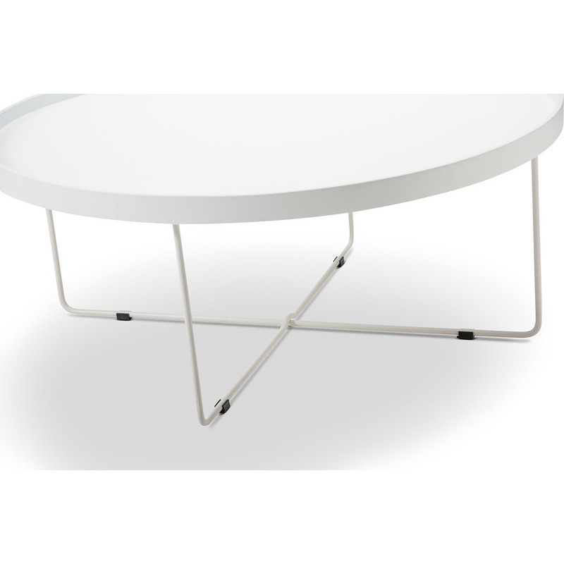 Tray Top Round Coffee Table W/ Metal Legs In White