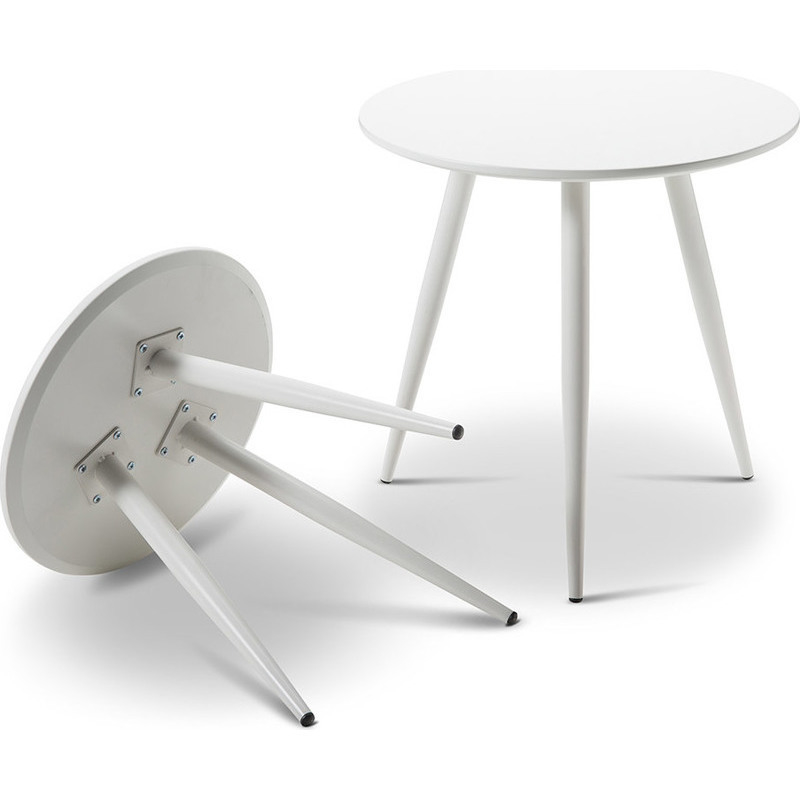 Steel Coffee Table Legs Brisbane: 2x Nesting Round Side Table W/ Metal Legs In White