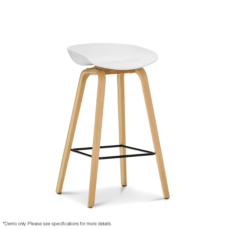 Replica hay white barstool with natural bentwood legs for Hay about a stool replica