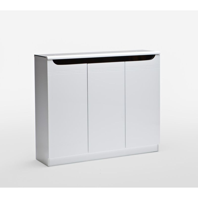 3 Door White Shoe Cabinet High Gloss Design | Buy Shoe Racks ...