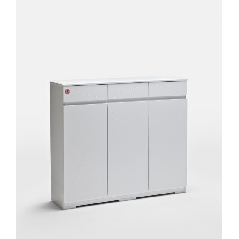 3 Door 3 Drawer Shoe Cabinet In High Gloss White
