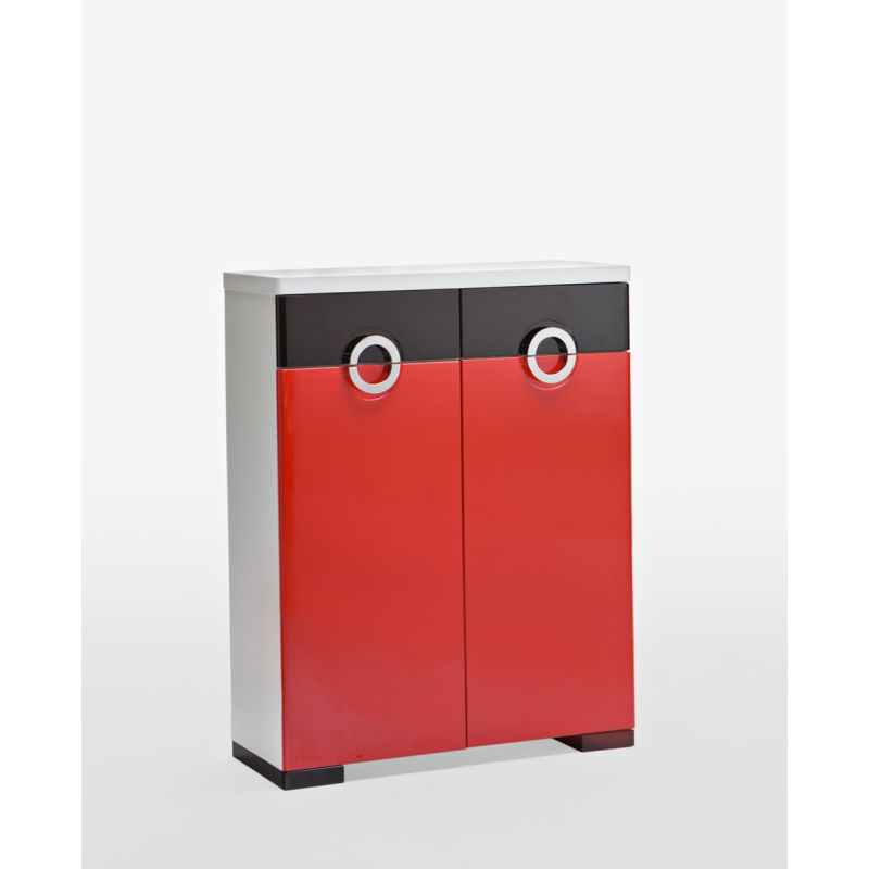 2 door 2 drawer shoe cabinet red & black high gloss