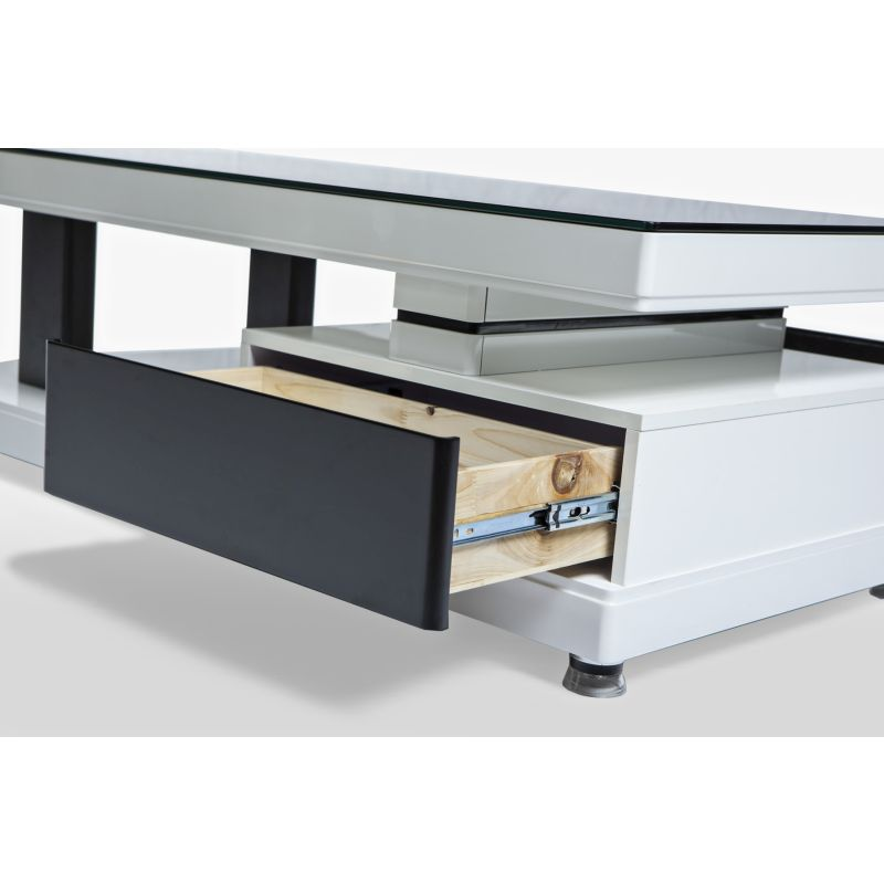 Low Modern Coffee Table: Modern Low Line 2 Drawer Coffee Table Black/White