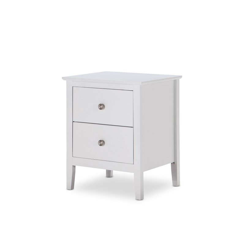 avana 2 drawer white bedside table chrome handles buy