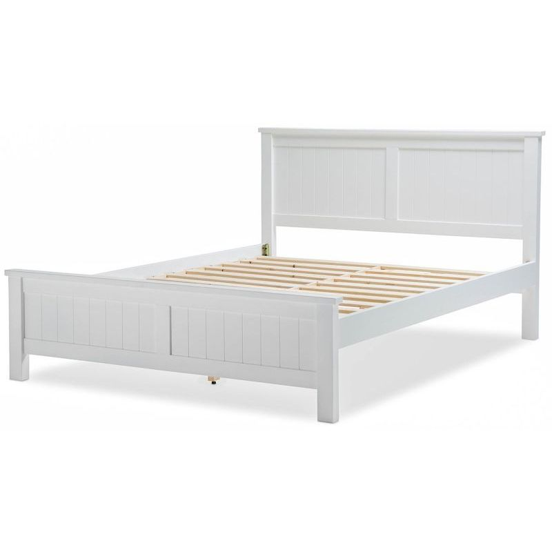 Snow Queen Size Wooden Geometric Bed Frame White