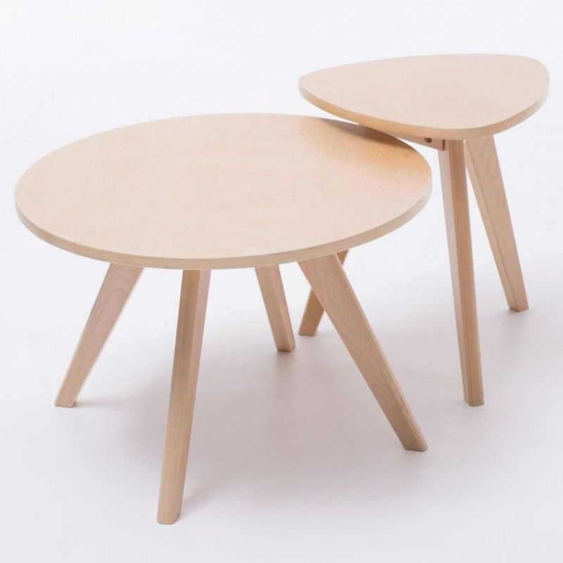 Top Selling Plywood Round Side Wooden Coffee Table And: Wooden Triangle Coffee Side Table In Natural 40cm