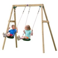 Plum Kid's Wooden Playground Double Swing Set