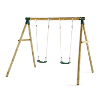 Plum Kids Double Swing Set w/ Wooden Frame