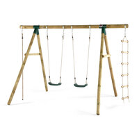 Plum Kids Double Swing Set w/ Climbing Rope, Ladder