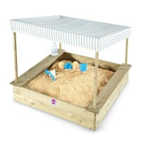 Plum Kids Wooden Sandpit with Seats & Canopy