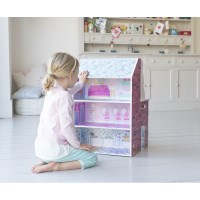 Plum 2 in 1 Wooden Dolls House and Kitchen - Pink