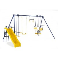 Plum Kids Swing Slide Trapeze Seesaw Playground Set
