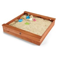 Plum Kids Square Wooden Sandpit with Seats & Cover