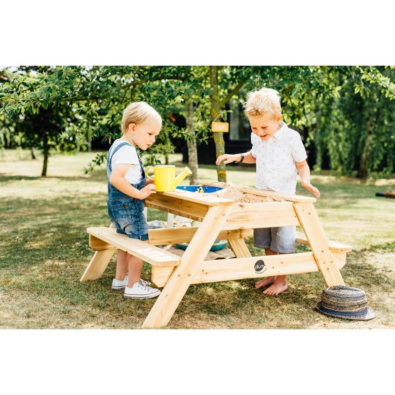 Plum Kids Wooden Picnic Table With Sand And Water. H M S Remaining